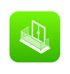 balcony with metal fencing icon green vector image