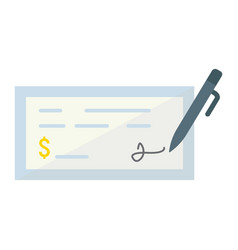 bank check flat icon business and finance pen vector image