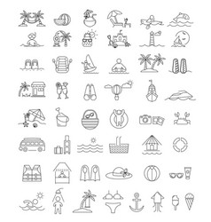 beach and summer icon set vector image