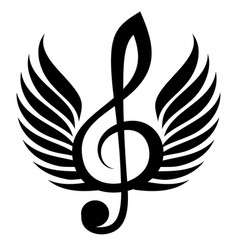 Black treble clef with wing vector