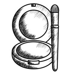 blush and brush make up drawing icon vector image
