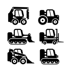 Bobcat Machine Icons Set vector