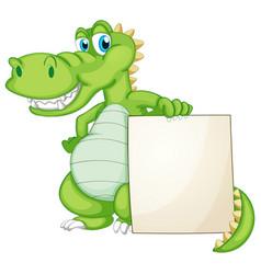 Border template design with cute crocodile vector