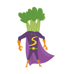 Broccoli funny icon superhero vegetable flat vector
