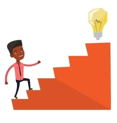 Businessman walking upstairs to the idea bulb vector image