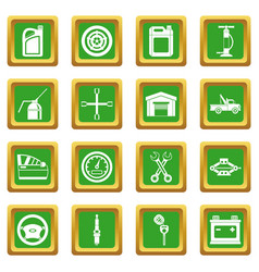 car maintenance and repair icons set green vector image