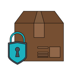 cardoboard box with safety lock icon image vector image