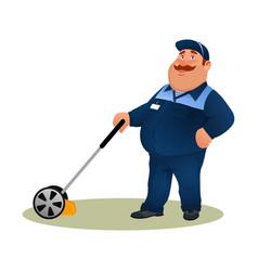 cartoon farmer with lawn mower smiling gardener vector image