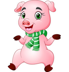 cartoon happy pig wearing a green scarf vector image