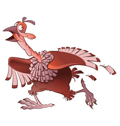 cartoon turkey bird runs away in fear symbol of vector image