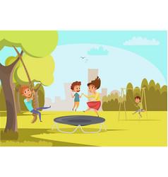 children on playground flat vector image