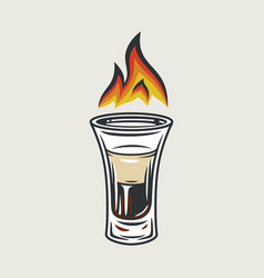 cocktail shot b 52 with fire flame emblem vector image