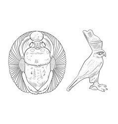 coloring page with bird falcon and scarab beetle vector image