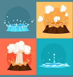 Concept of blue geyser and red-hot volcano icons vector