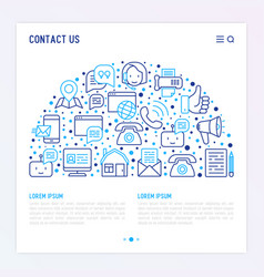 Contact us concept in half circle vector