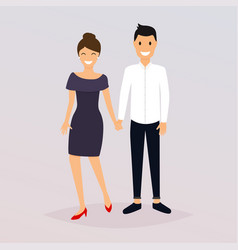 couple of young people cartoon character romantic vector image