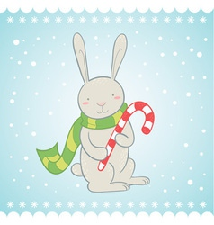 Cute bunny Christmas greeting card vector