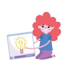 Cute teen girl with video creativity social media vector