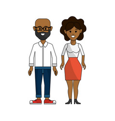 Dark skin couple man with glasses and woman with vector