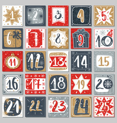 December advent calendar christmas poster vector