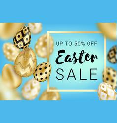 easter sale golden eggs design blue vector image