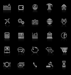 Economy line icons with reflect on black vector
