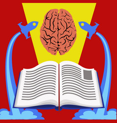 education from books to brain concept vector image