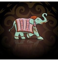 Emerald ethnic elephant vector image