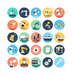 Factory Manufacturing Production Icons 1 vector