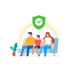 Family sitting on couch protection well vector