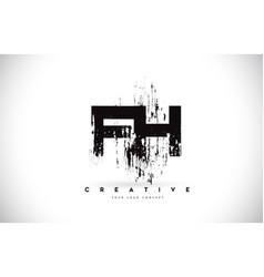 fh f h grunge brush letter logo design in black vector image