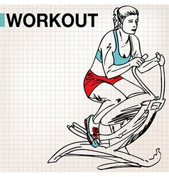 Fitness center young woman exercise vector