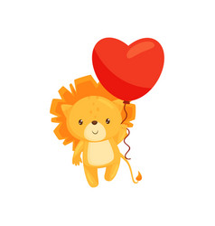 flat design of lovely lion with red heart vector image