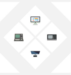 flat icon computer set of display technology pc vector image