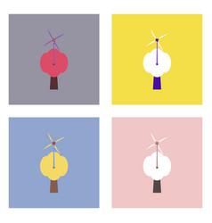 Flat icon design collection three wind turbines vector