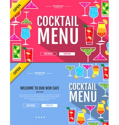 Flat style cocktail menu concept Web site design vector image