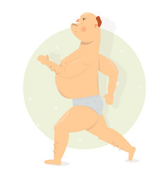 funny man running in shorts vector image