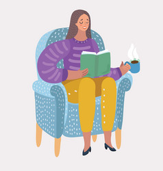 girl reading book on arm-chair vector image