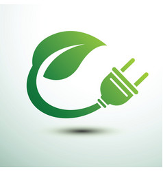 Green eco power plug design with green leave vector
