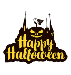 Halloween calligraphic inscription with pumpkin vector