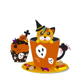 Halloween cupcake and cofee design vector