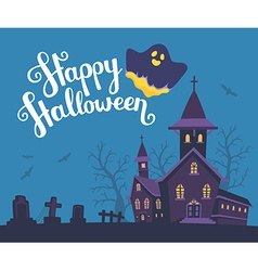 halloween of haunted house cemetery bats o vector image