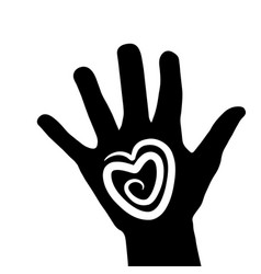 hand with heart icon logo stock vector image