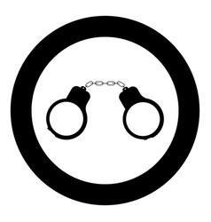 handcuff icon black color in circle vector image