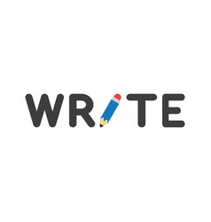 icon concept of write word with pencil vector image