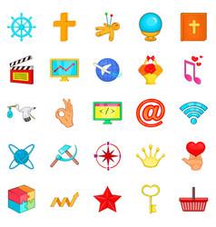 image icons set cartoon style vector image