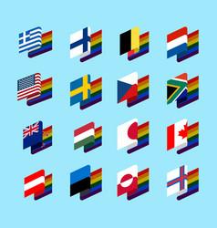 Lgbt state flag set 2 same-sex marriages symbol vector