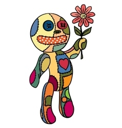 Little doll flower in her hand vector