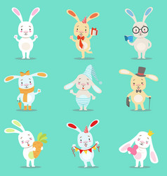 Little girly cute white bunny cartoon character vector