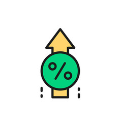 Loan interest rate increase flat color line vector